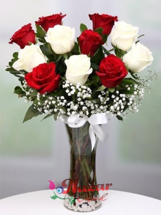 Vazoda Kırmızı ve Beyaz Güller