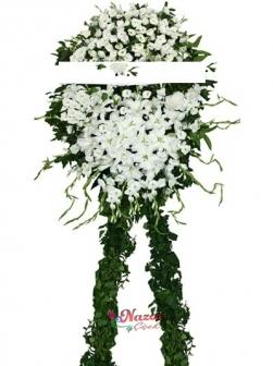 Tek Renk Beyaz Cenaze Çelengi