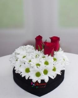 Kalp Kutuda Papatyalar ve Güller